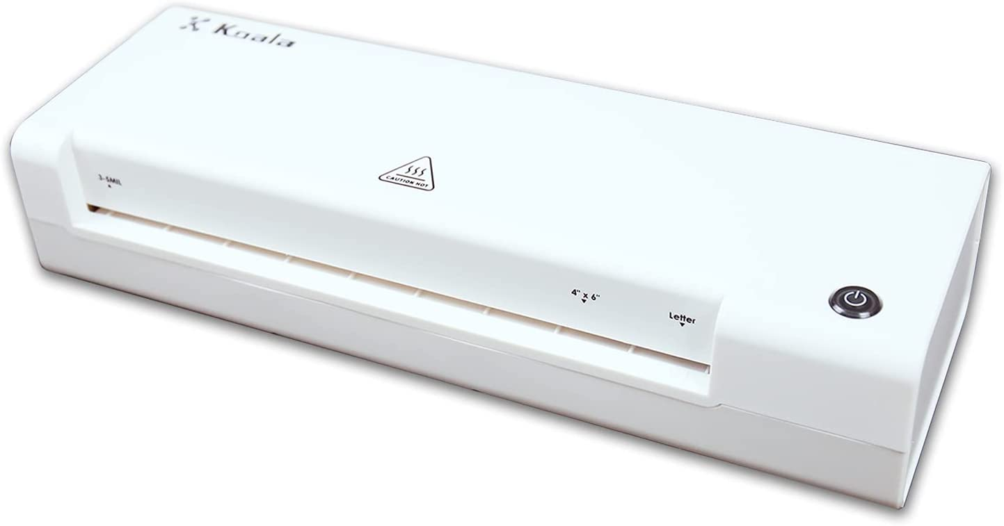 Koala Laminator Machine Thermal Laminating Machine 8.5 x 11'' A4 Hot Laminator with Laminating Pouches Sheets Corner Rounder 2 Roller System ABS Release Button for Home Office School Use White