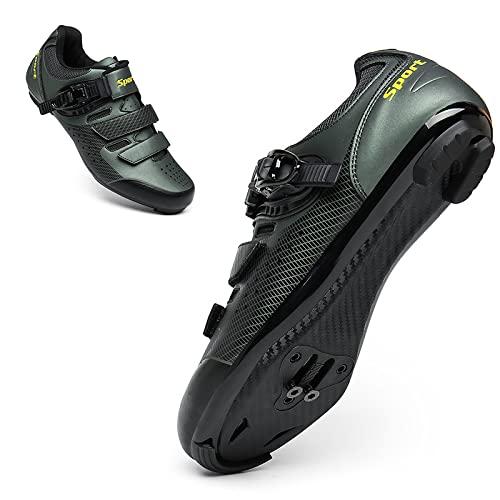 ASORT Zapatillas de Ciclismo de Carretera para Hombre, Zapatillas de Ciclismo SPD para Mujer, Antideslizantes, Transpirables, Compatibles con Los Pedales Look Delta con Delta,GreenA-44EU