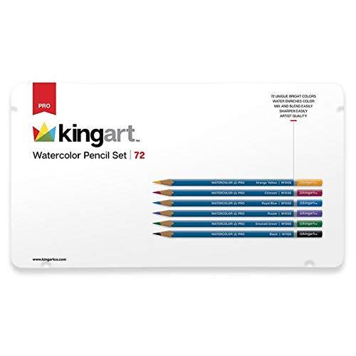 KingArt PRO Watercolor Collection Pencil Set, Set of 72, Unique Colors 72 Piece