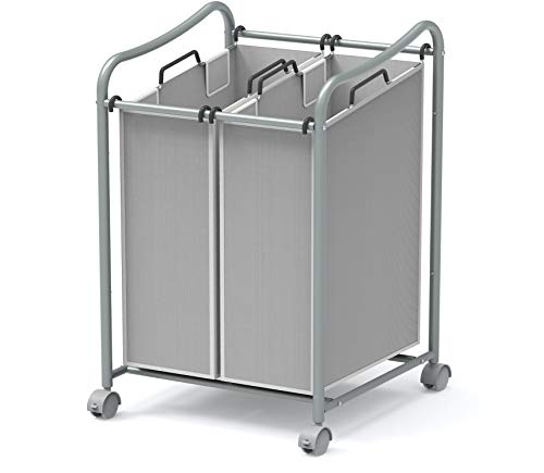 Simple Houseware 2Bag Heavy Duty Rolling Laundry Sorter Cart Silver