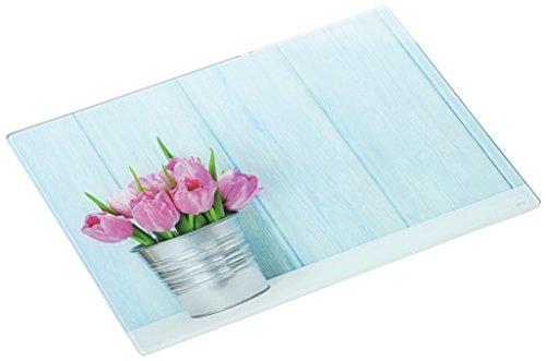 Glas Schneideplatte, Motiv Tulpe, Küchen Schneidebrett, 2 Größen, Servierbrett, Servierplatte (mittel 30x20cm)