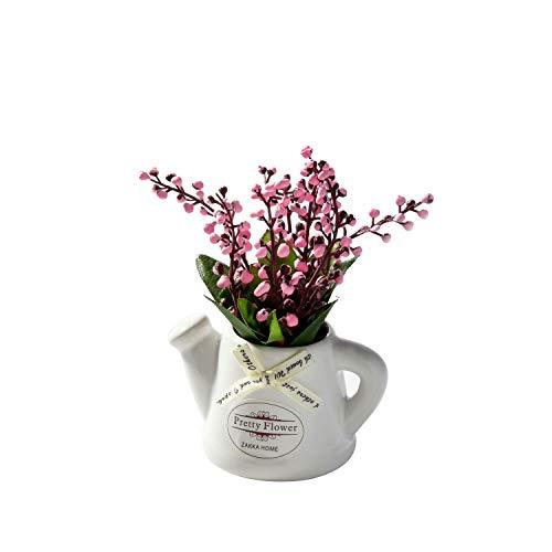 YTHX Flor Artificial Fake Flowers Lily of The Valley + Jarrón De Cerámica con Maceta Pequeña Mini Bonsai De Escritorio para Sala De Estar Decoración De JardínRosa