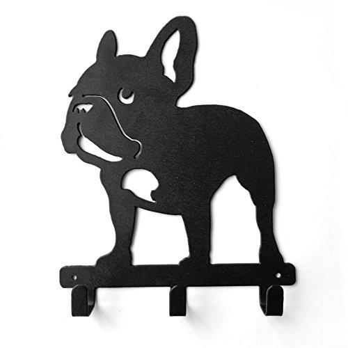 YOURNELO Cute Ironwork Puppy French Bulldog Dog Art Wall Mounted Decorative Coat Rack Hooks (A4)