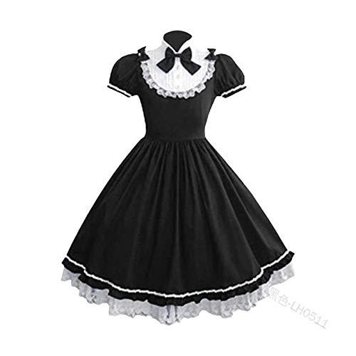 Fgolphd Mujeres Alice Lolita Ángel Pink Cotton Princess Vestido Trayectoria Gótico Tank Vestido Traje Lindo Anime Maid Capa Vestido for niñas (Color : 1 Black, Size : M)