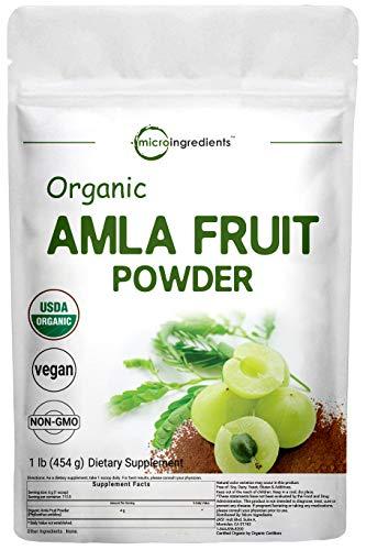 Organic Amla Powder (Amalaki),1 Pound (16 Ounce), Rich in Natural Vitamin C, Antioxidant and Flavonoids, Supports Immune System and Fat Burn, Premium Amla Powder Organic, Non-GMO and Vegan Friendly