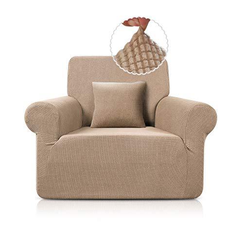 TAOCOCO Sofa Überwürfe Jacquard Sofabezug Elastische Stretch Spandex Couchbezug Sofahusse Sofa Abdeckung in Verschiedene Größe und Farbe (Sand, 1-sitzer(78-116cm))