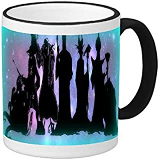Trendy Accessories Villains United Silhouette Print Design Image 11 ounce Black Rim/Handle Ringer Ceramic Coffee Mug Tea Cup by