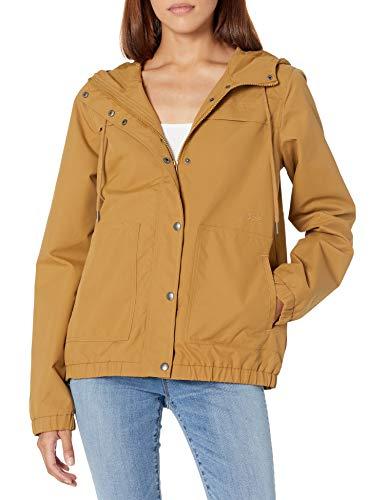 Volcom Women's Enemy Stone Hooded Zip Front Windbreaker Jacket, Gold, LARGE