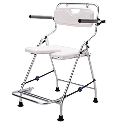 WEIZI Silla de baño y Ducha - Asiento de baño portátil Plegable con Respaldo y Brazos para discapacitados Personas Mayores bariátrico