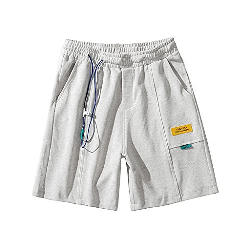 GDSSX Pantalones Cortos de Deportes Casuales de Verano Pantalones de Baloncesto Sueltos de los Hombres con cordón Pantalones Casuales Bordados Casuales (Color : Light Gray, Size : S)