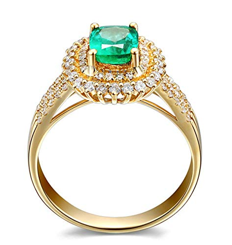 Rubyia Emerald Rings for Women 18 carat Gold 0.75ct Green Emerald with Luxurious Square Size M½