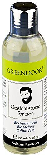 Greendoor Gesichtstonic men 150ml Sebum Reducer, natürlich mit Aloe Vera, BIO Hamamelis, pflegt, beruhigt die Talgproduktion, fettet nicht, für gesundes Hautbild, Naturkosmetik vegan, Gesichtswasser