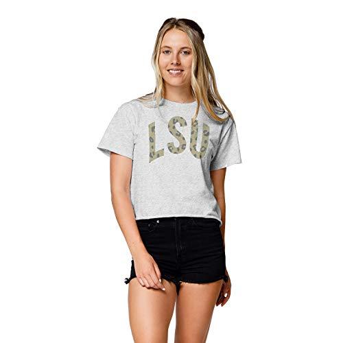 NCAA League Womens Lsu Tigers Clothesline Cotton Crop Top, Medium, Ash