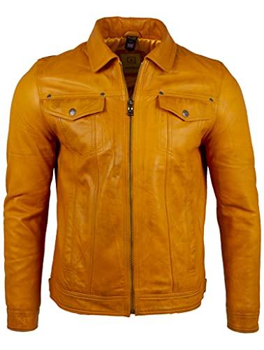 Aviatrix Herrenjacke aus sehr weichem Echtleder, klassisch, Motorradjacke (AGQ5), gelb, XL
