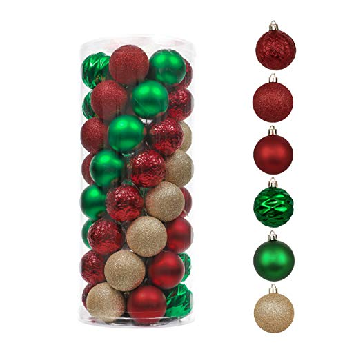 Valery Madelyn 50ct 60mm Country Road Red Green and Gold Shatterproof Christmas Ball Ornaments Decoration, Themed with Tree Skirt (Not Included)