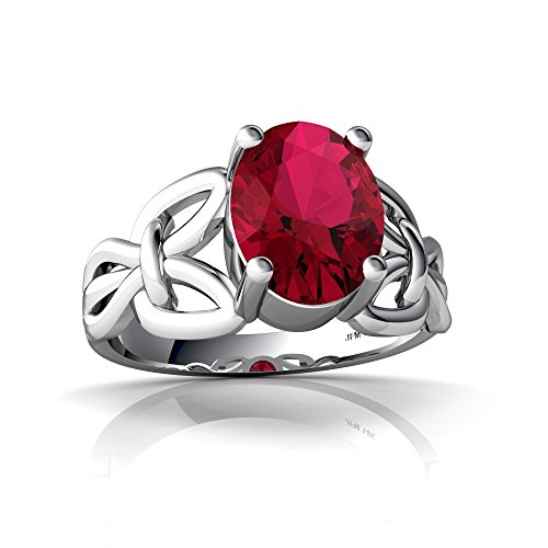 14kt White Gold Lab Ruby 9x7mm Oval Celtic Knot Ring - Size 5