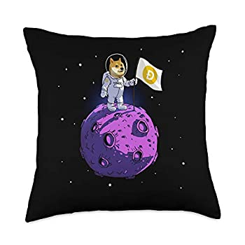Bitcoin Shirts BTC Dogecoin to the Moon DOGE Cryptocurrency Crypto Astronaut Throw Pillow 18x18 Multicolor