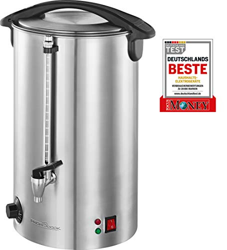 Profi Cook PC-HGA 1111 warme drank- en glühweinmachine, roestvrijstalen behuizing, 16 L, vulstandindicator, massief metalen tapkraan, 1500 watt, inox
