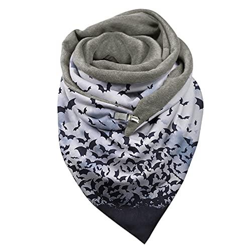 Bufanda de invierno para mujer, de moda, para Halloween, Navidad, cálido, para otoño, bufandas, manta ligera y acogedora, A34., M