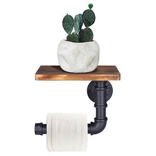 OROPY Portarrollos para papel higiénico industrial con estante, soporte de papel higiénico montado en la pared, accesorios de baño vintage, decoración rústica