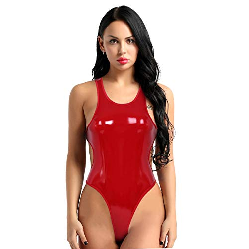 easyforever Women's Shiny Metallic PU Leather Sleeveless Backless Leotard Bodysuit High Cut Teddy Lingerie Nightwear
