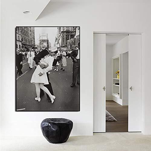 sanzangtang New York overwinning, kussen, canvas, schilderijen, posters, retro-kunst, zwart-wit, fotolijst, afbeelding afdrukken naar huis, muurkunst, decoratie, zonder lijst