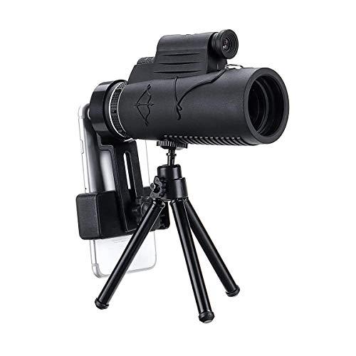 Monoculaire Telescoop, 50x60 HD Smart Zoom Optische Telescoop Monoculair Met Verlichting Laser +Statief+Mobiele Telefoon Clip Zwart Krijg De Beste Close-up Natuur Ervaring