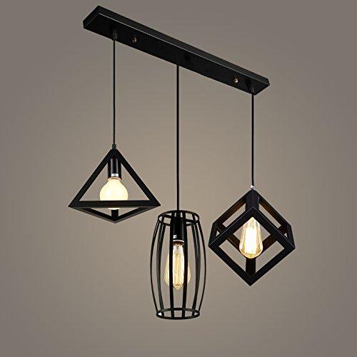 Luckyfree Moderne, eenvoudige creatieve ijzeren hanglamp kamer bar café restaurant keuken gang lampen plafondlamp kroonluchter aan + 60 cm lange strepen + lamp LED