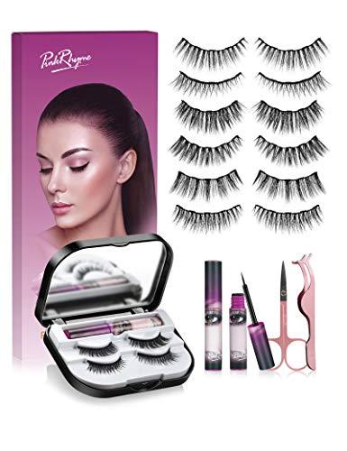 Pink Rhyme Faux Cils Magnétique, 3D Naturel Faux Cils, Magnétiques Eyeliner Kit, Réutilisables, Vient avec Miroir, Recourbe Cils, Eye Liner Magnétique, Lisse et Imperméable (6 Paires)