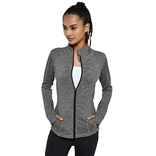 Women's Yoga Jacket Full Zip-up Running Shirt Running Track Jacket Sportswear with Thumb Holes