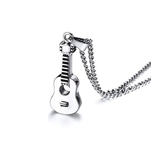 DFGHJK Collar para Hombre, Colgante De Cadena, Collar con Colgante De Guitarra Acústica En Tono para Hombres, Accesorios Unisex Conmemorativos De Cenizas De Acero Inoxidable