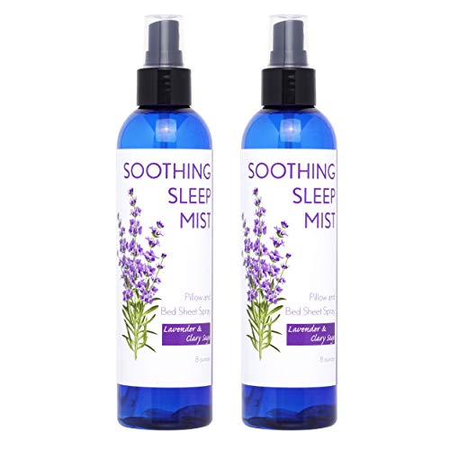 Sleep Spray for Calming Sleep. Relaxing Lavender Pillow Spray. All Natural Sleep Aid. Aromatic Mist to Promote Deep Sleep and Stop Snoring. 2X Large Bottles. (Lavender & Clary Sage)
