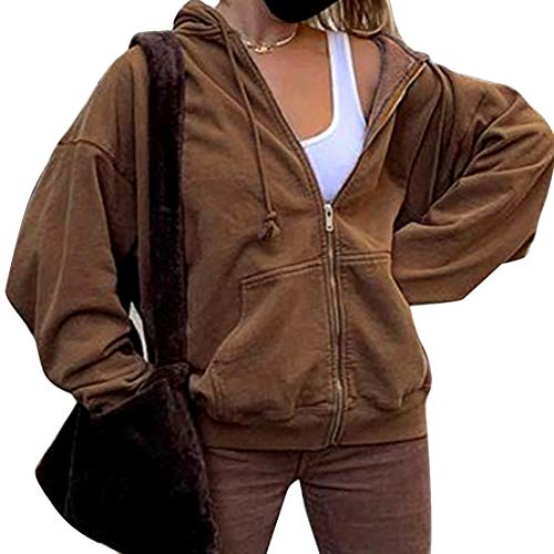 Heflashor Kapuzenjacke Damen Sweatjacke Vintage Kapuzenpullover mit Reißverschluss Hoodie Kapuzenpulli Freizeitjacke Outwear (Braun,L)