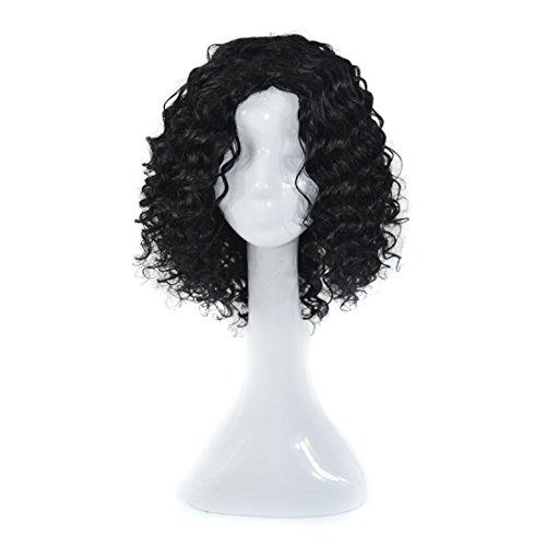 Pelucas de reemplazo de cabello 300g pelucas llenas reales for las mujeres pelucas rizadas del pequeño volumen PROFUNDAS negras europeas y americanas for el pelo humano natural realista con la peluca