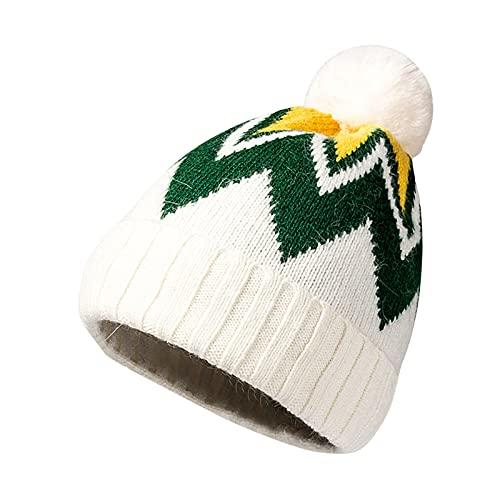 Yue668 - Gorro de punto de bola de lana, sombrero de lana de lana de lana para exterior, cálido y sólido