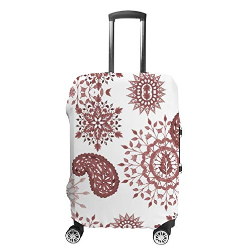 Travel Luggage Cover Black Pink Boho Retro Watercolor Paisley Suitcase Protector Fits 22-24in Luggage Washable Baggage Protective Cover