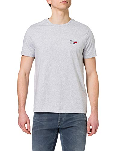 Tommy Jeans TJM Chest Logo tee Camiseta, Gris plateado, S para Hombre
