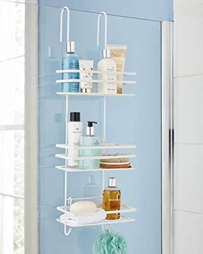 Direct Online Houseware Elegante portaoggetti da Doccia a 3 Ripiani, Colore Bianco antiruggine, Metallo, 79 H x 25 W x 12 D