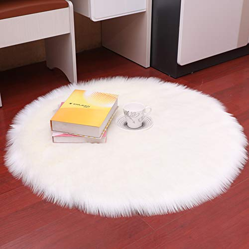 DQMEN Piel de Cordero Oveja/Sheepskin Rug Cordero, imitación mullida Alfombras imitación Piel sintética Deko Piel,para salón Dormitorio baño sofá Silla cojín (Blanco, 60 X 60 CM)