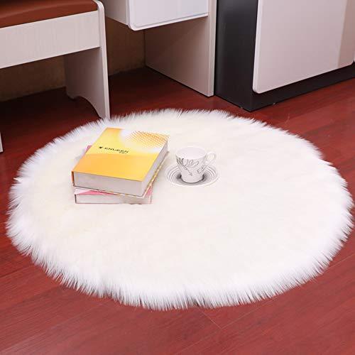 DQMEN Piel de Cordero Oveja/Sheepskin Rug Cordero, imitación mullida Alfombras imitación Piel sintética Deko Piel,para salón Dormitorio baño sofá Silla cojín (Blanco, 90 X 90 CM)