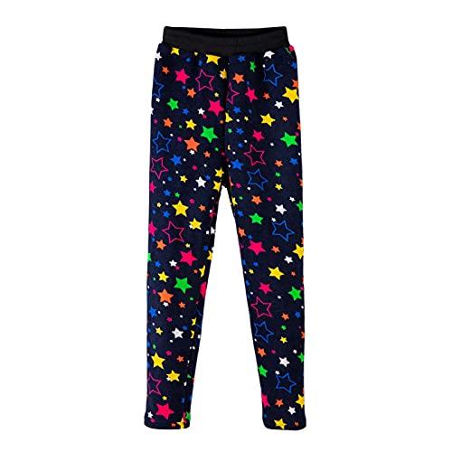 YFPICO Leggings NiñAs Pantalones Ajustados CáLidos NiñOs Pantalones Ajustados con Forro Polar Pantalones Ajustados Coloridos NiñOs Leggins Estampados OtoñO e Invierno(Estrellas Color,140)