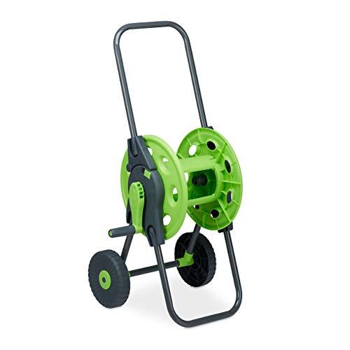 Relaxdays Schlauchwagen, fahrbare Schlauchtrommel für 45m Wasserschlauch, 1/2 Zoll, Garten, 82,5 x 43 x 34 cm, grau-grün