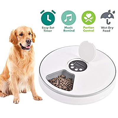 Automatic Pet Feeder for Cats Dogs Rabbits & Small Animals,6 Meal Trays Dry Wet Food Water Auto Feeder, with LCD Display Programmable Digital Timer,Portion Control Food Dispenser Feeder from Pawstrust