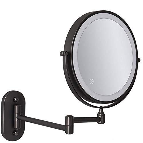 Kosmetikspiegel Wandmontage mit weißes Licht, natürliches Licht und gelbes Licht, USB-Aufladung Rasierspiegel mit 1x/5x Vergrößerungsspiegel Make-up Spiegel 360°Schwenkbar Faltbar Schwarz