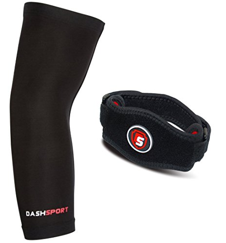 DashSport Elbow System Includes: (1) Copper Compression Elbow Sleeve and (1) Tennis Elbow Brace. Best forearm brace / strap with pad. Complete support and relief of Golfer and Tennis Elbow.