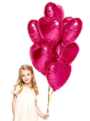 Treasures Gifted Mothers Day Heart Love Party Decorations in Magenta Pink Foil Mylar Balloons for Baby Shower Wedding Anniversary and Engagement Birthday Graduation (12 Pack)