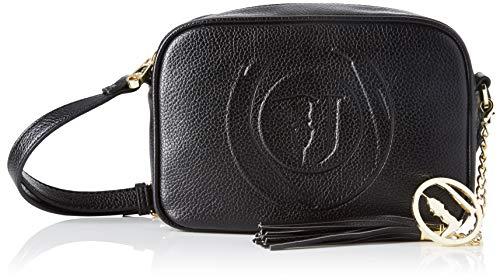 Trussardi Jeans Faith Camera Case Tumbled Ecol, Borsa a Tracolla Donna, Nero (Black), 15x7x21 cm (W x H x L)