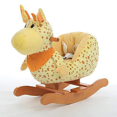 Kibten Cheval à bascule for bébé girafe à bascule, les filles Kid Ride on girafe en peluche en bois Riding Rocker enfant Premier cheval à bascule intérieur Rocker animaux en plein air avec son, Ceintu