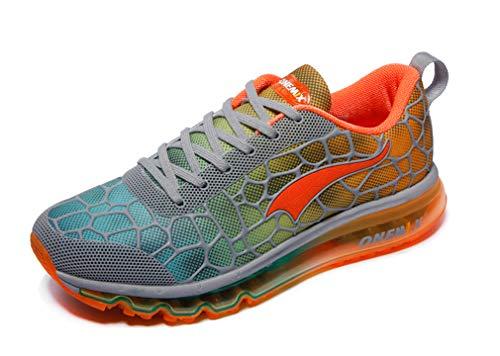 Herren-Sneaker mit Luftpolsterung, leicht, Größe 42 (UK 8.5), Grau / Orange / Rot
