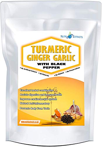 Turmeric Ginger Garlic Capsules and Black Pepper 360 High Strength Pills Made in The UK by NutriExtracts